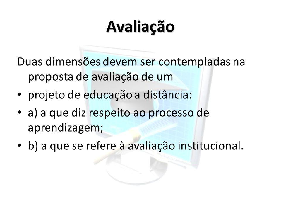 AvaliaçãoDuas dimensões devem ser contempladas na proposta de avaliação de um. projeto de educação a distância: