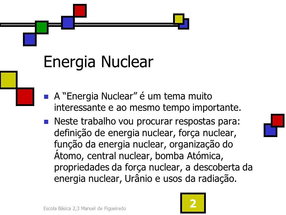 Energia Nuclear A Energia Nuclear é um tema muito interessante e ao mesmo tempo importante.