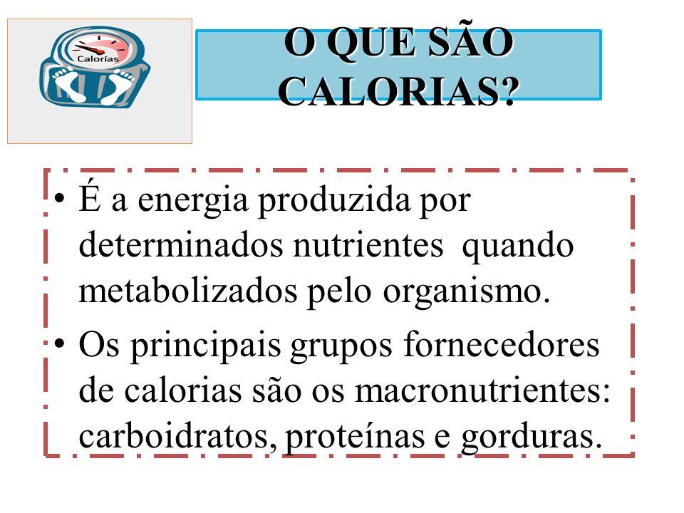 O QUE SÃO CALORIAS É a energia produzida por determinados nutrientes quando metabolizados pelo organismo.