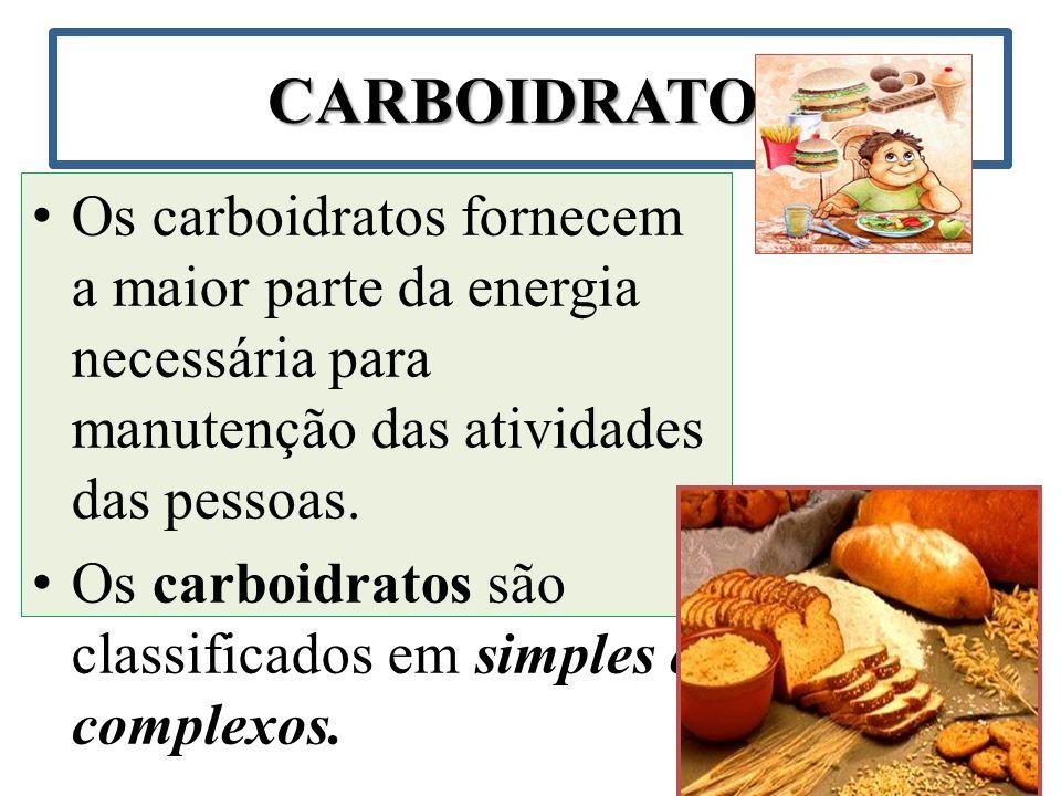 CARBOIDRATOS Os carboidratos fornecem a maior parte da energia necessária para manutenção das atividades das pessoas.