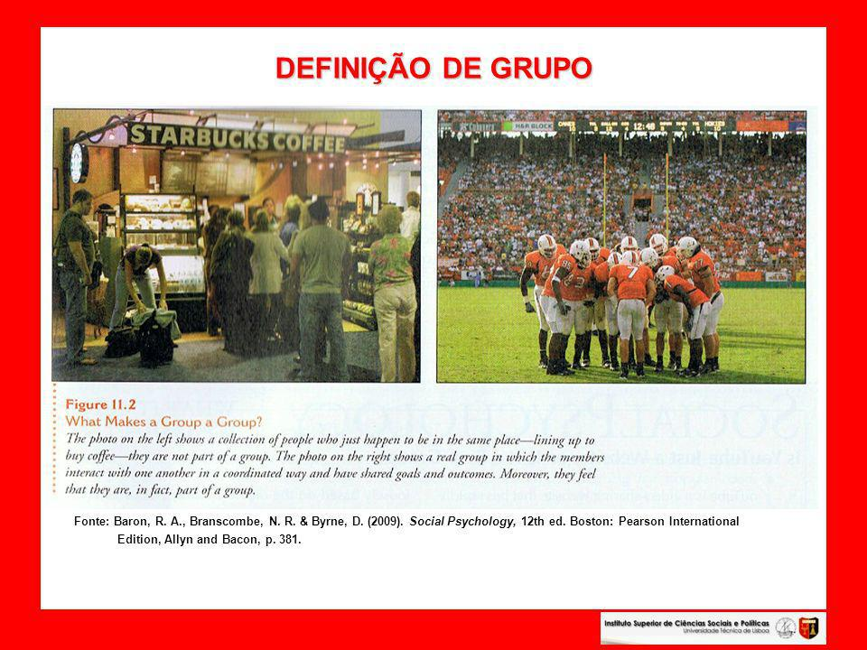 DEFINIÇÃO DE GRUPO Fonte: Baron, R. A., Branscombe, N. R. & Byrne, D. (2009). Social Psychology, 12th ed. Boston: Pearson International.
