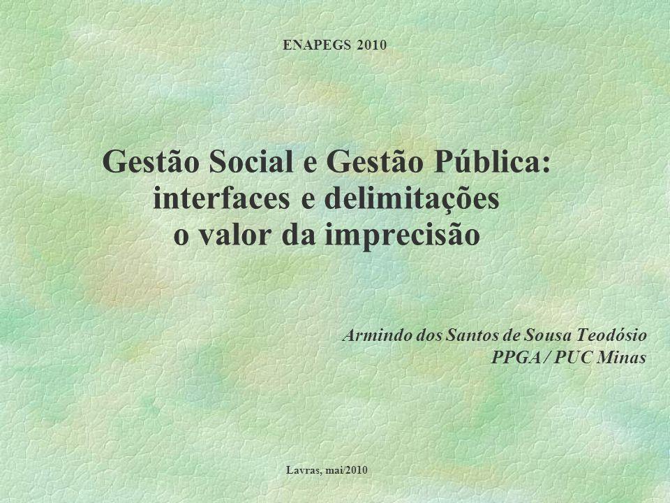 Gestão Social e Gestão Pública: interfaces e delimitações