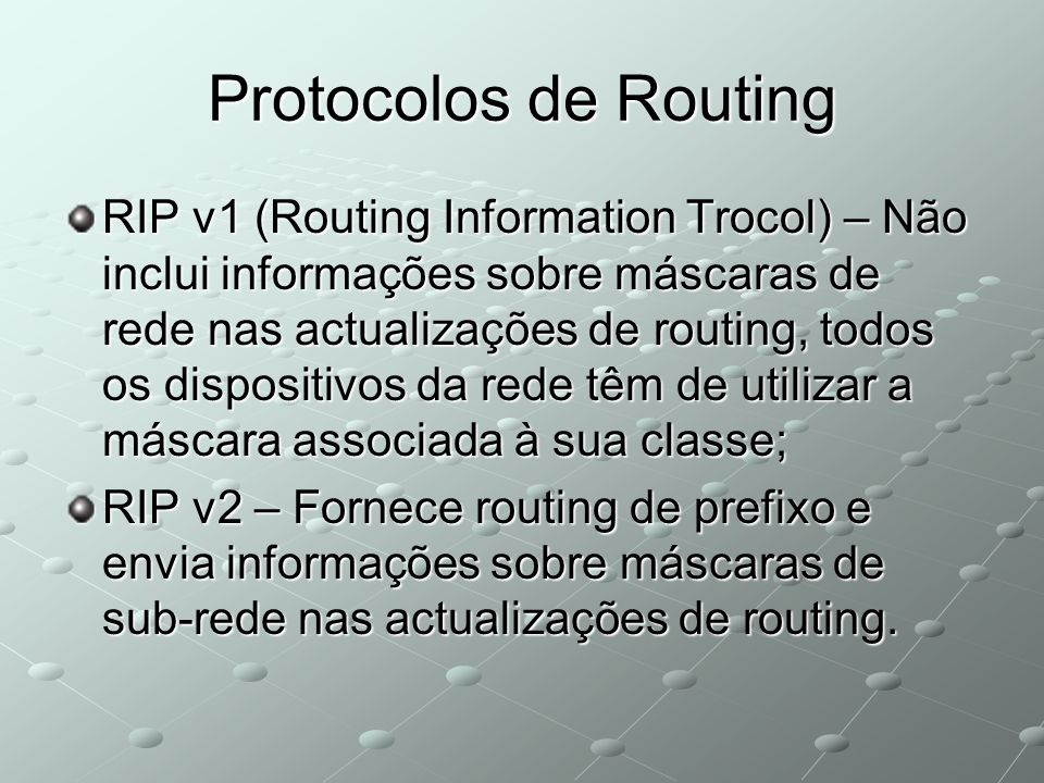 Protocolos de Routing