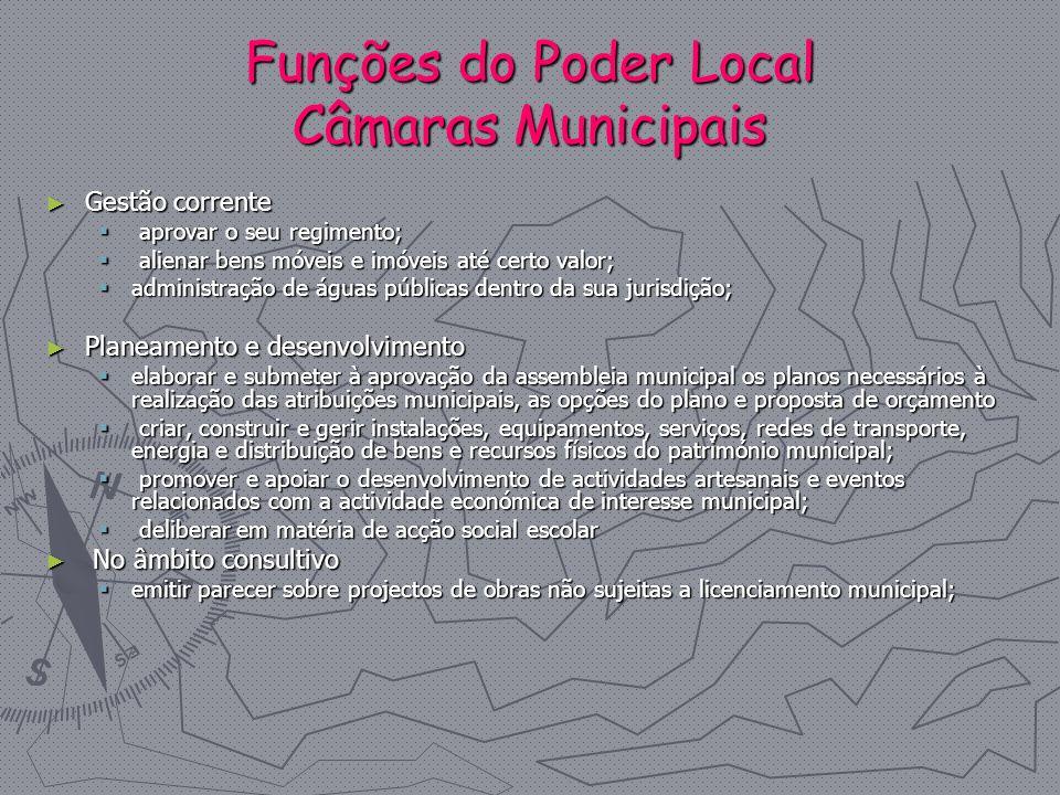 Funções do Poder Local Câmaras Municipais
