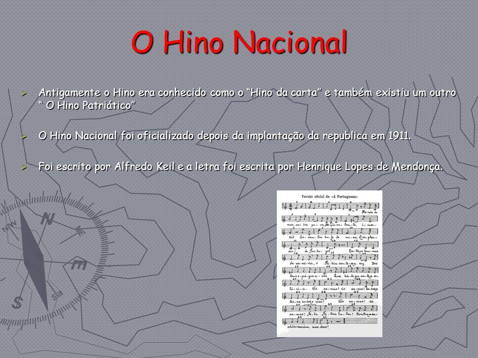 O Hino Nacional Antigamente o Hino era conhecido como o Hino da carta e também existiu um outro O Hino Patriático