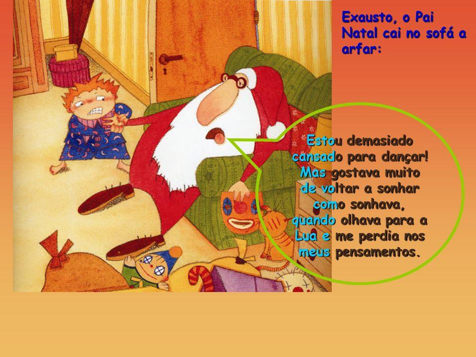 Exausto, o Pai Natal cai no sofá a arfar: