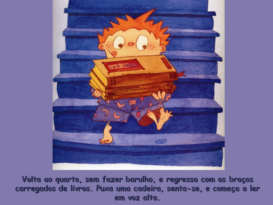 Volta ao quarto, sem fazer barulho, e regressa com os braços carregados de livros.