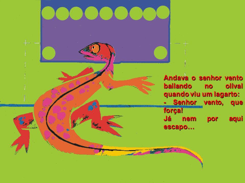 Andava o senhor vento bailando no olival quando viu um lagarto: