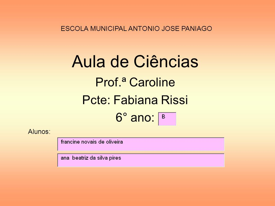 Prof.ª Caroline Pcte: Fabiana Rissi 6° ano: