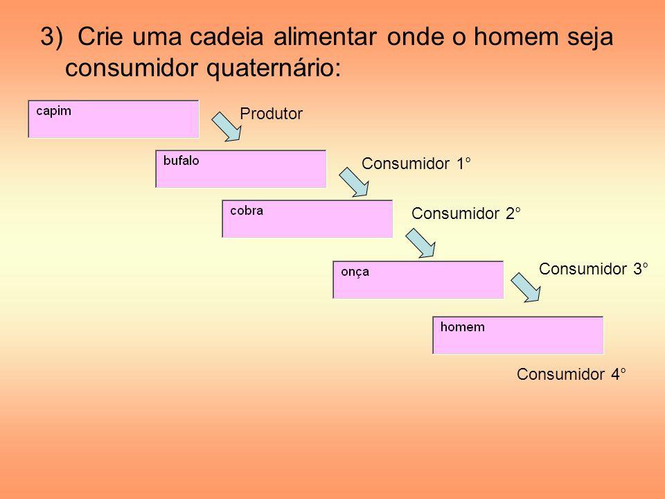 3) Crie uma cadeia alimentar onde o homem seja consumidor quaternário: