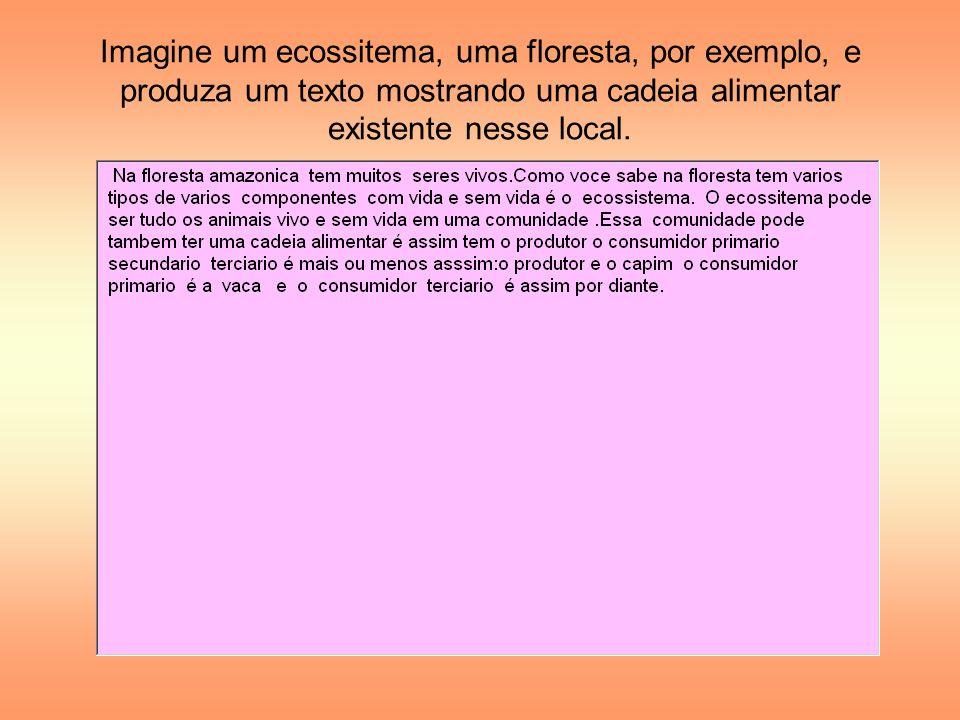 Imagine um ecossitema, uma floresta, por exemplo, e produza um texto mostrando uma cadeia alimentar existente nesse local.