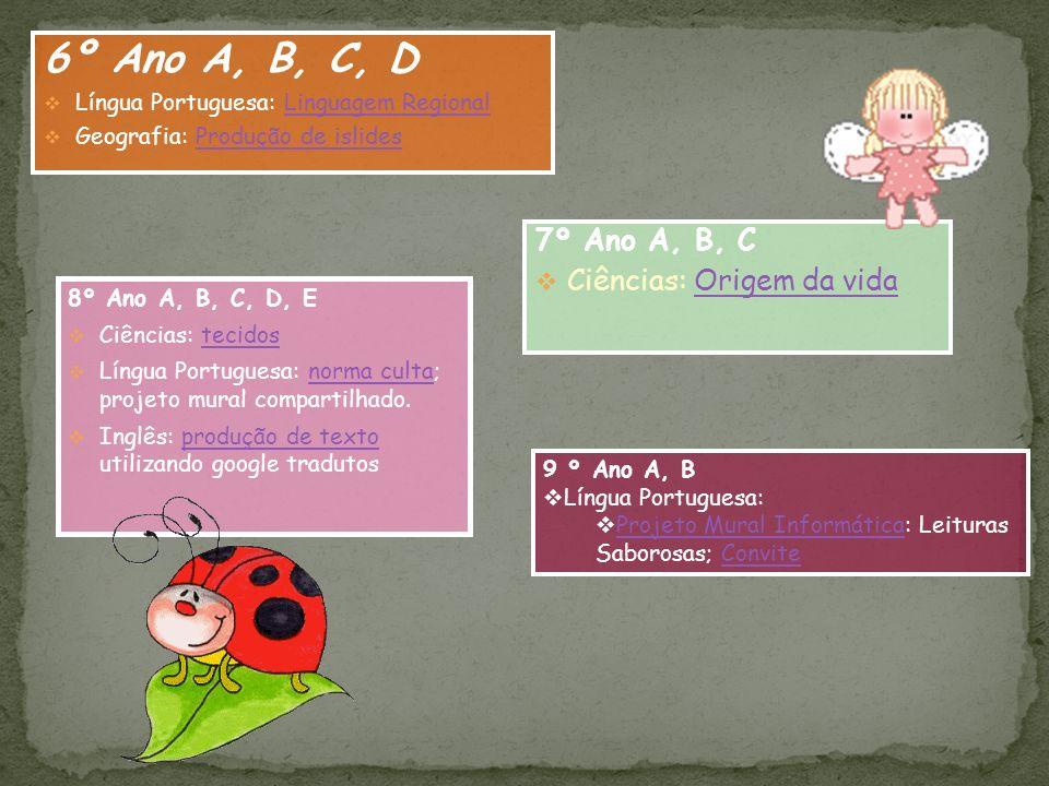 6º Ano A, B, C, D 7º Ano A, B, C Ciências: Origem da vida