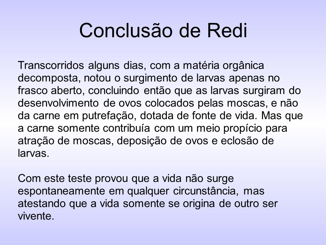 Conclusão de Redi