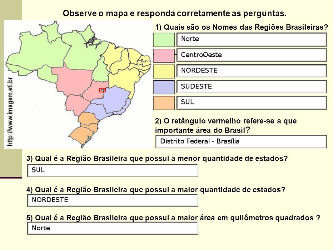 Observe o mapa e responda corretamente as perguntas.