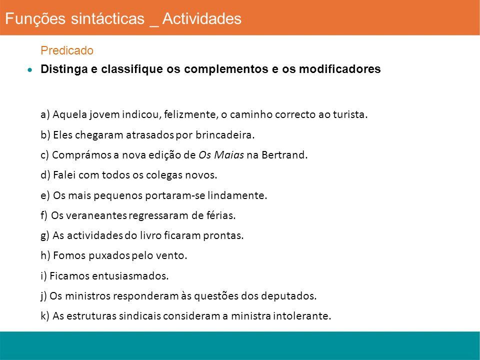 Funções sintácticas _ Actividades