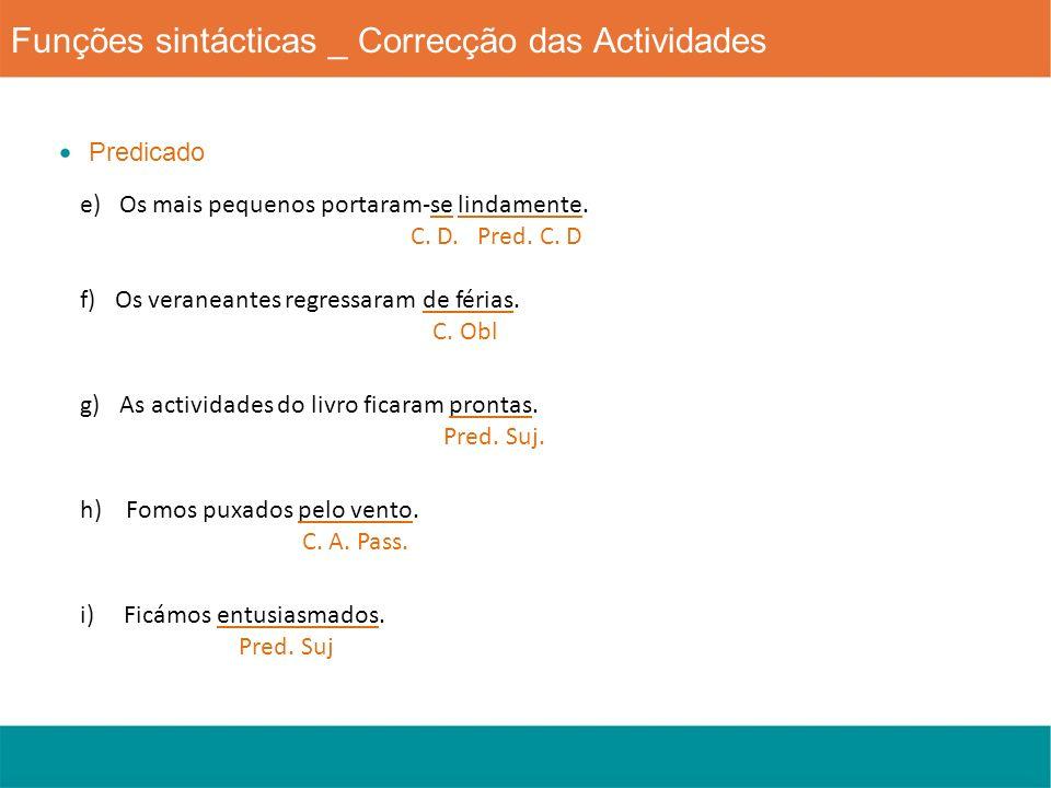 Funções sintácticas _ Correcção das Actividades