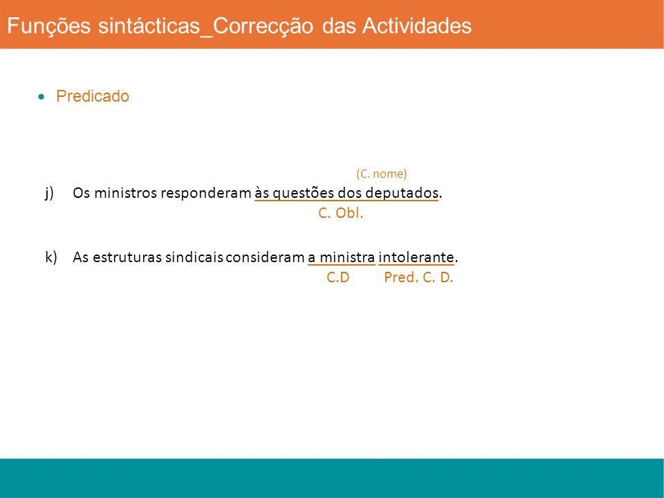 Funções sintácticas_Correcção das Actividades