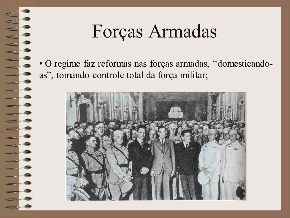 Forças Armadas O regime faz reformas nas forças armadas, domesticando-as , tomando controle total da força militar;