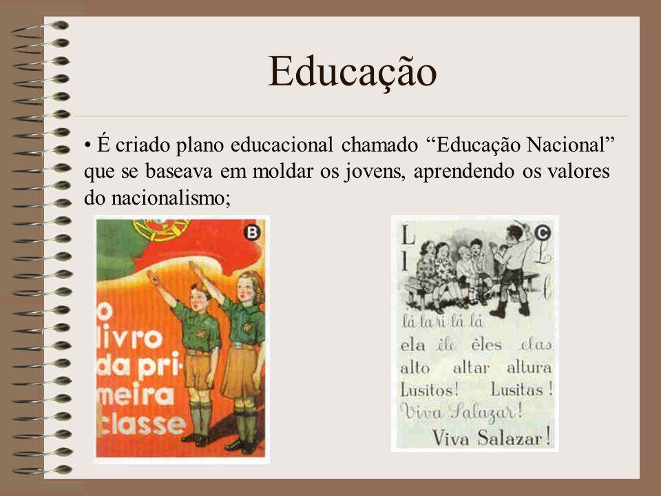 Educação É criado plano educacional chamado Educação Nacional que se baseava em moldar os jovens, aprendendo os valores do nacionalismo;