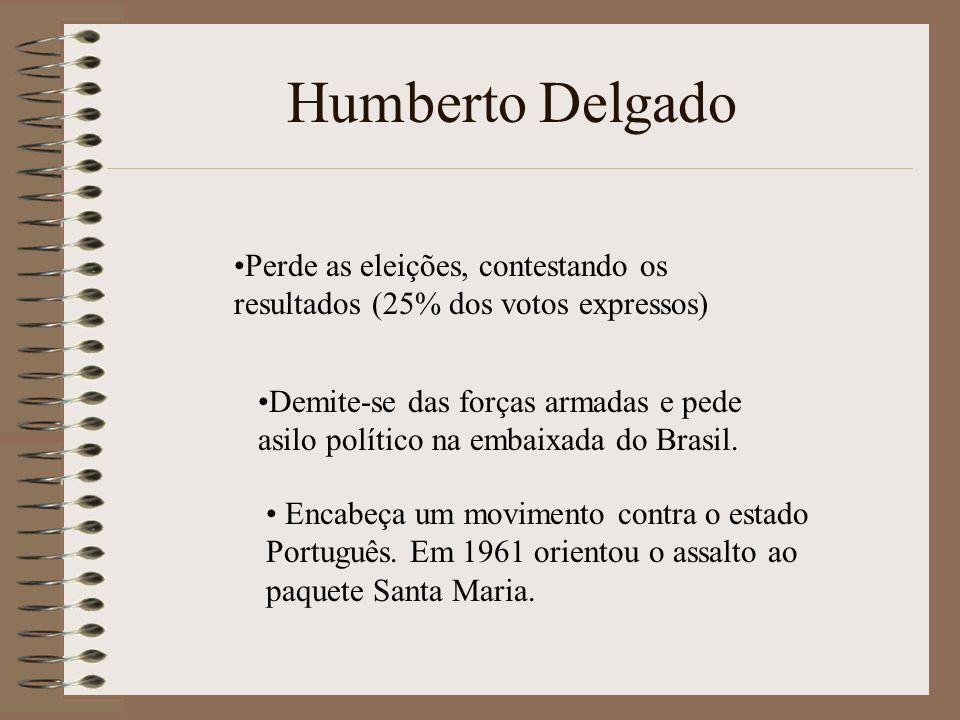 Humberto Delgado Perde as eleições, contestando os resultados (25% dos votos expressos)