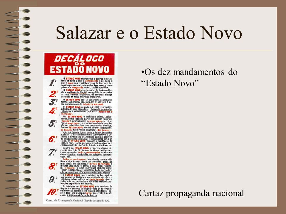 Salazar e o Estado Novo Os dez mandamentos do Estado Novo
