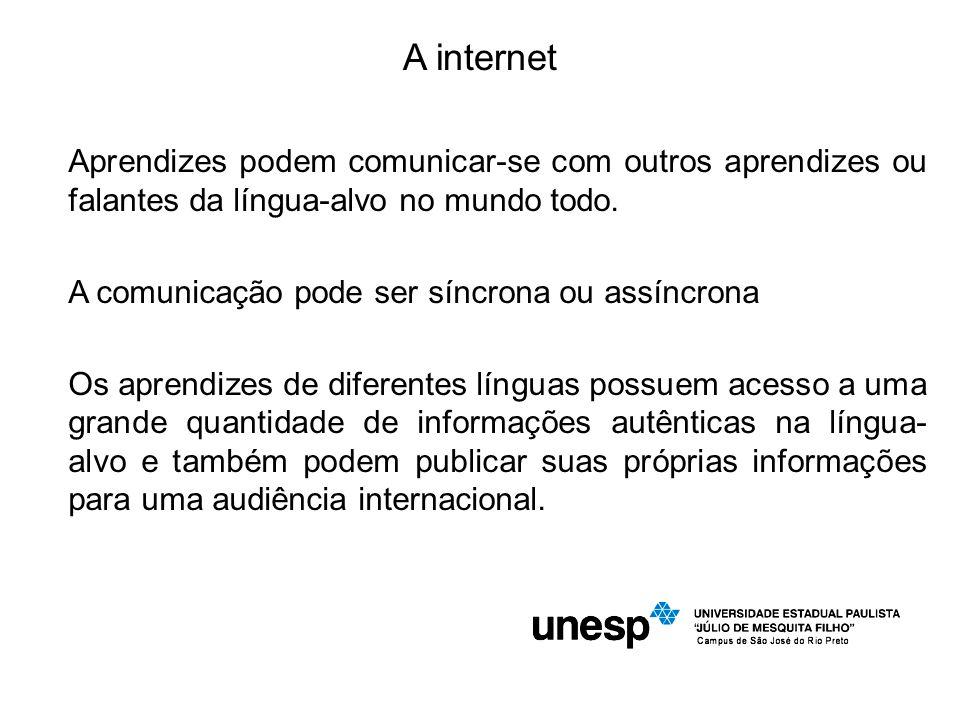 A internet Aprendizes podem comunicar-se com outros aprendizes ou falantes da língua-alvo no mundo todo.