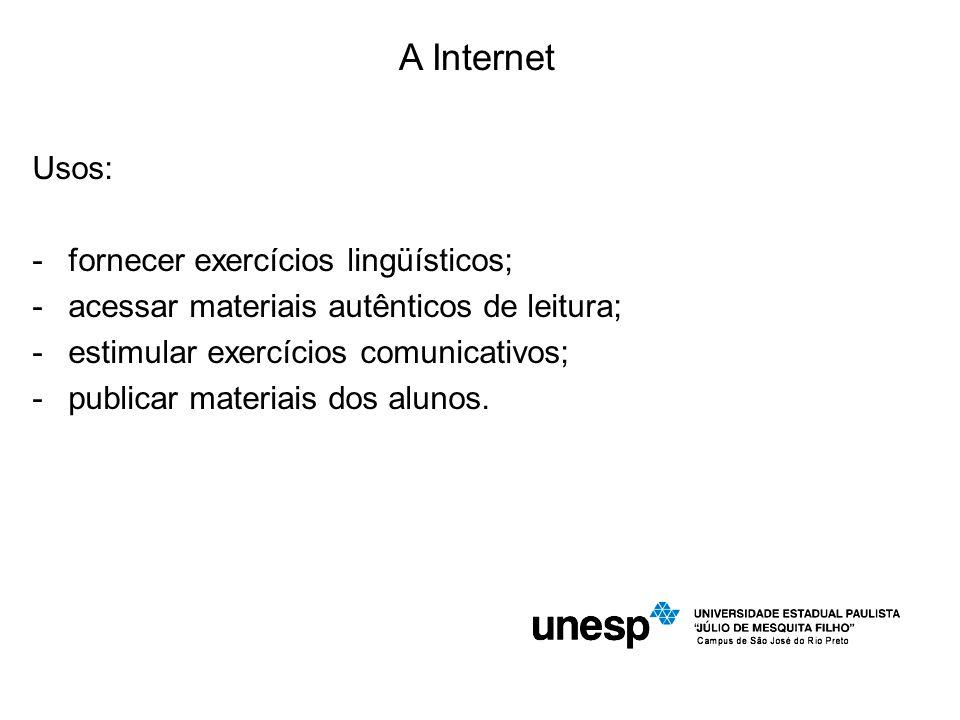 A Internet Usos: fornecer exercícios lingüísticos;