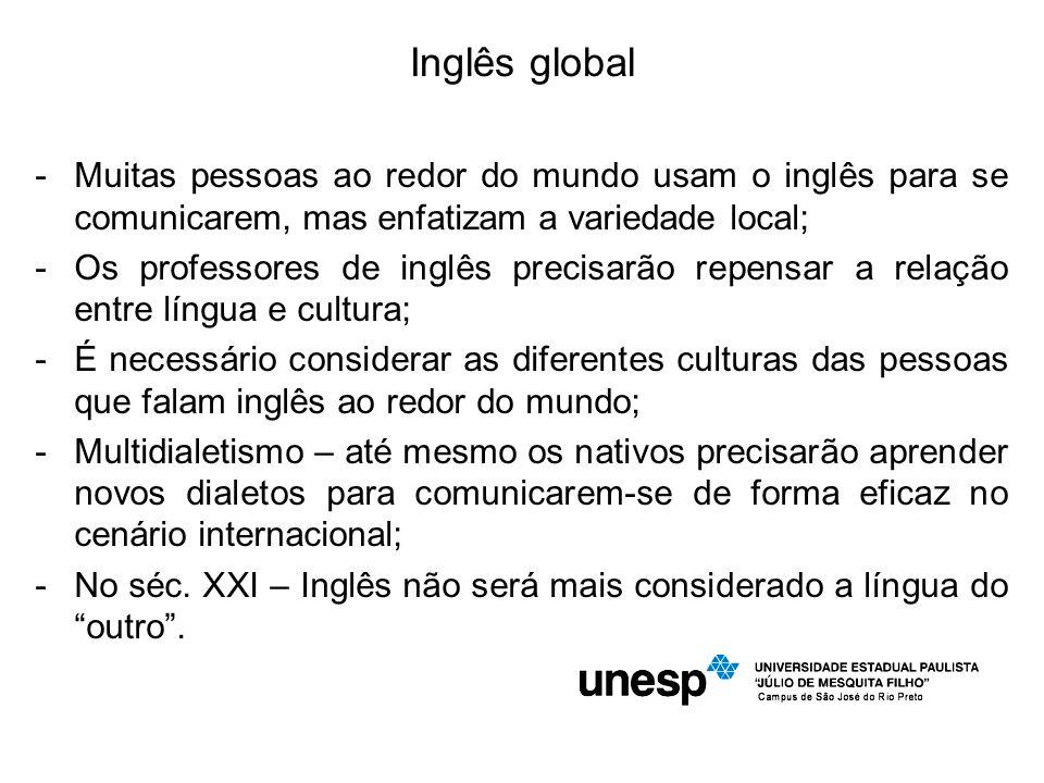 Inglês global Muitas pessoas ao redor do mundo usam o inglês para se comunicarem, mas enfatizam a variedade local;