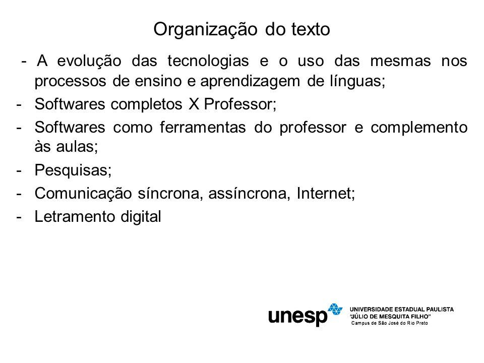 Organização do texto - A evolução das tecnologias e o uso das mesmas nos processos de ensino e aprendizagem de línguas;
