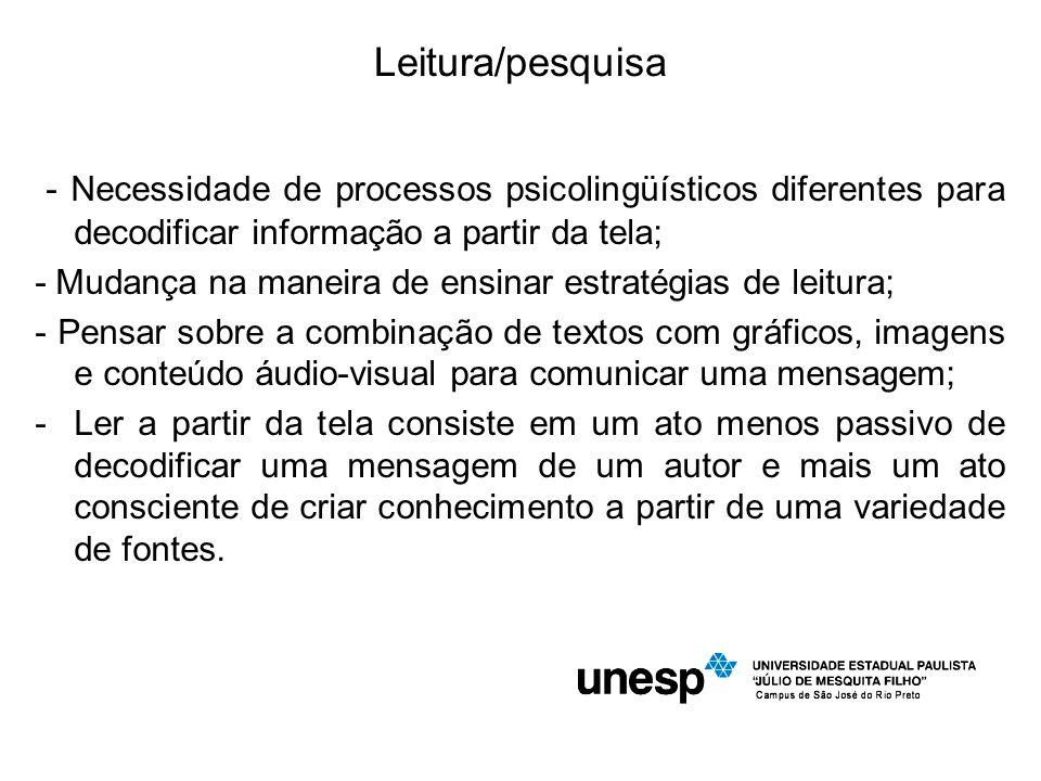 Leitura/pesquisa - Necessidade de processos psicolingüísticos diferentes para decodificar informação a partir da tela;