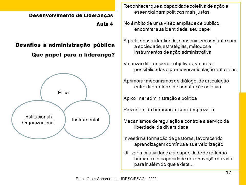 Desafios à administração pública Que papel para a liderança