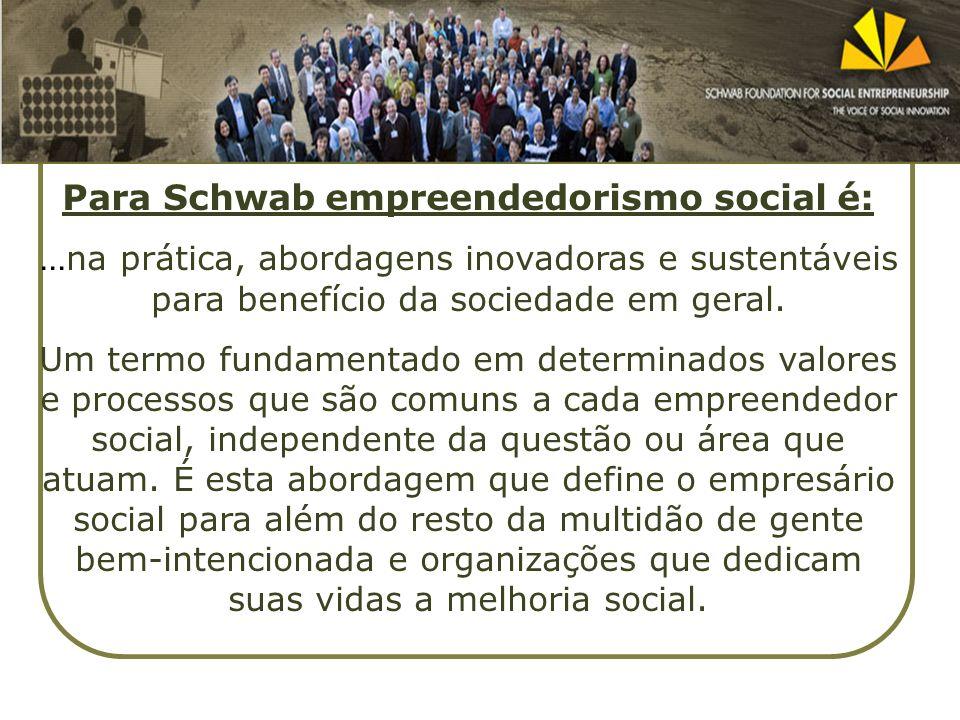 Para Schwab empreendedorismo social é: