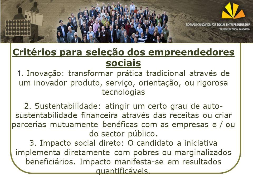 Critérios para seleção dos empreendedores sociais 1