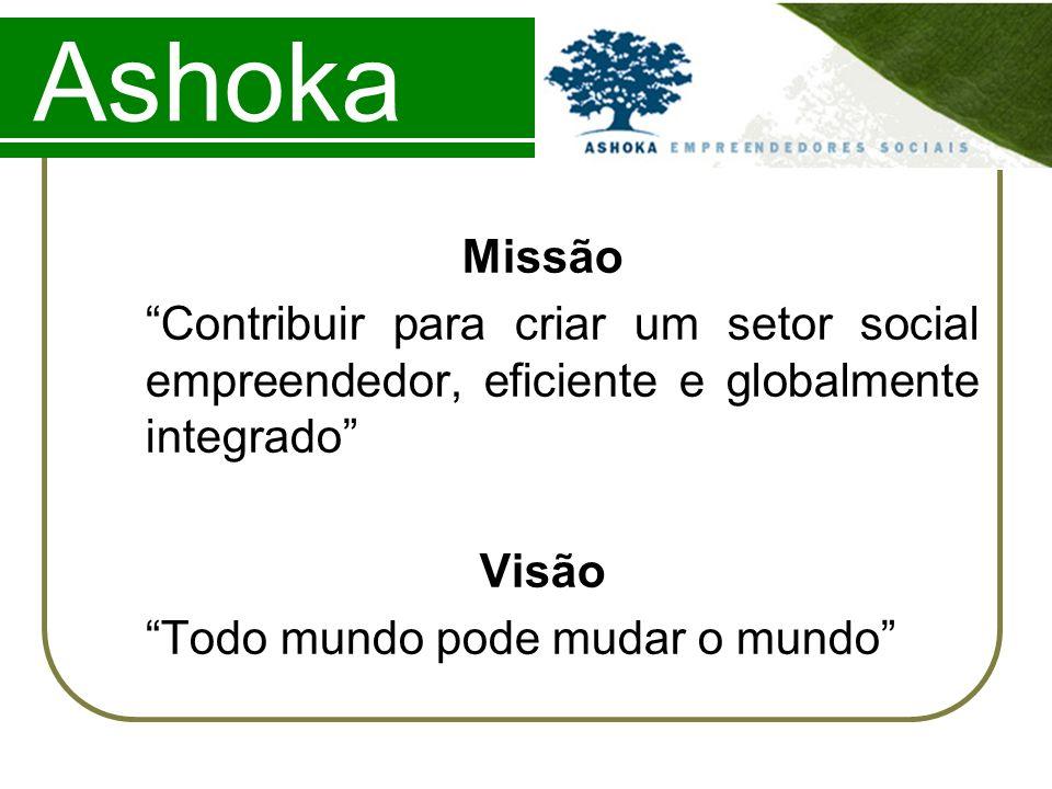 Ashoka Missão. Contribuir para criar um setor social empreendedor, eficiente e globalmente integrado