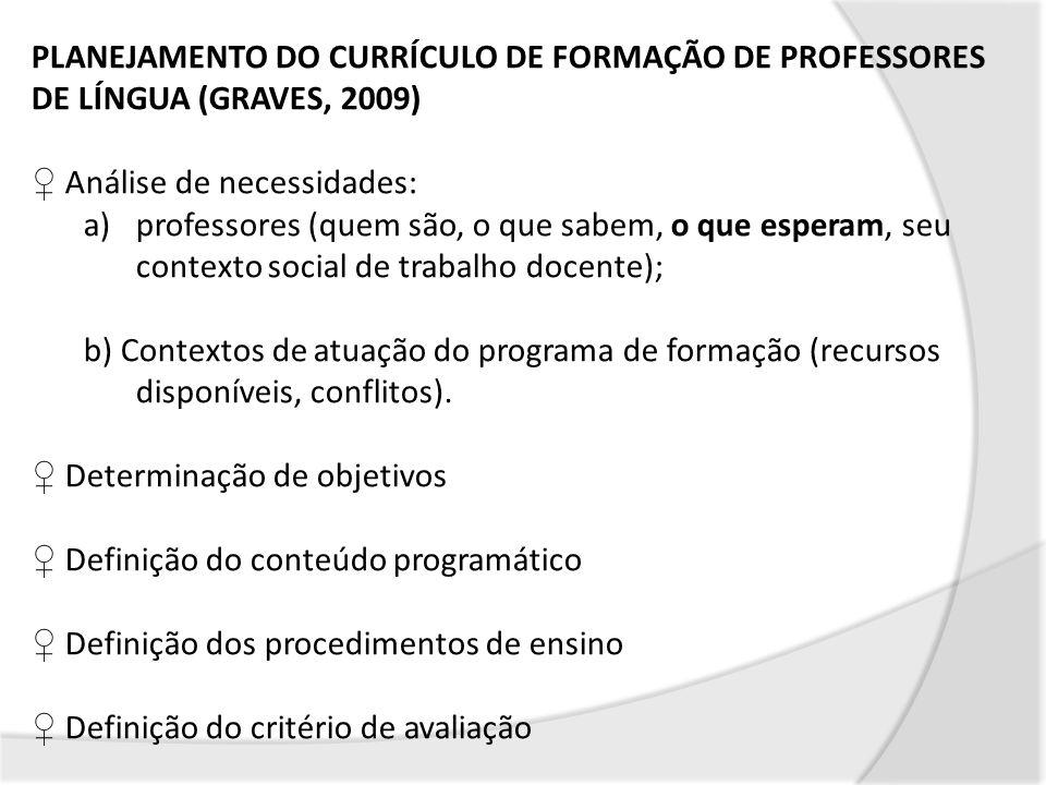 PLANEJAMENTO DO CURRÍCULO DE FORMAÇÃO DE PROFESSORES DE LÍNGUA (GRAVES, 2009)