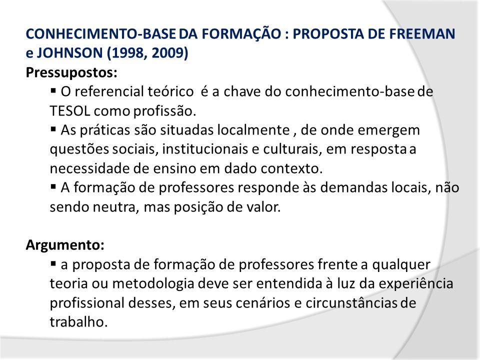 CONHECIMENTO-BASE DA FORMAÇÃO : PROPOSTA DE FREEMAN e JOHNSON (1998, 2009)