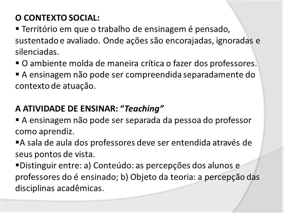 O CONTEXTO SOCIAL:Território em que o trabalho de ensinagem é pensado, sustentado e avaliado. Onde ações são encorajadas, ignoradas e silenciadas.