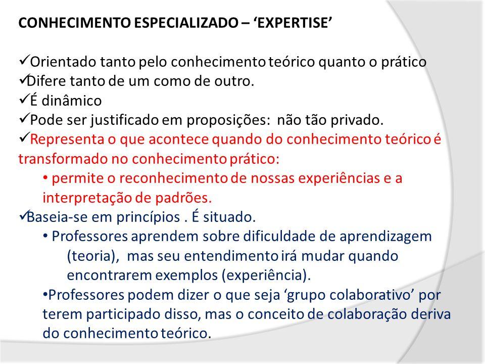 CONHECIMENTO ESPECIALIZADO – 'EXPERTISE'