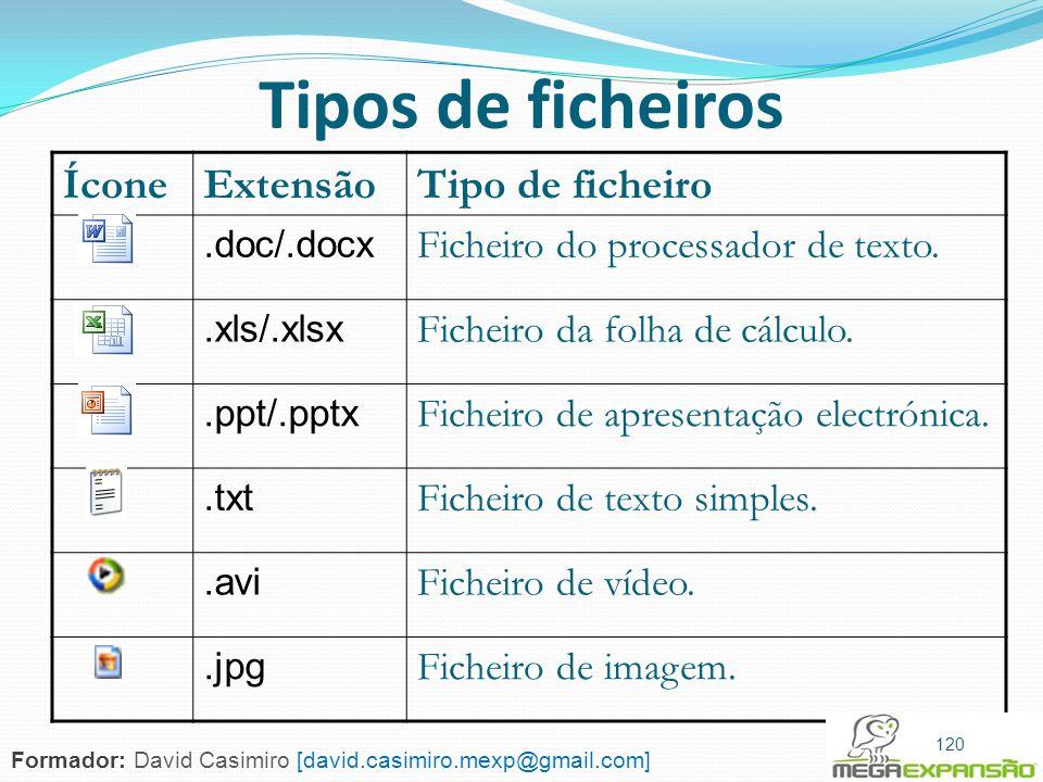 Tipos de ficheiros Ícone Extensão Tipo de ficheiro