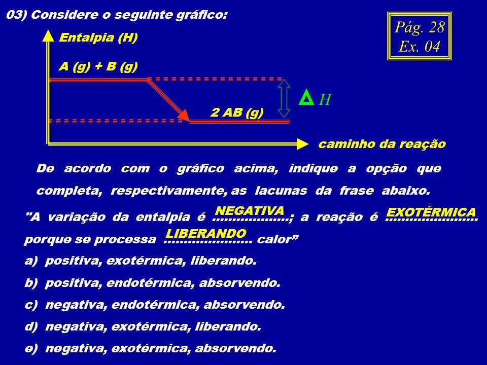 Pág. 28 Ex. 04 H 03) Considere o seguinte gráfico: Entalpia (H)