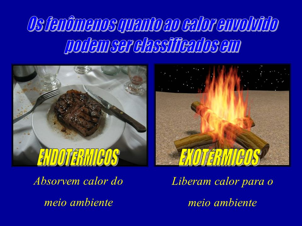 Os fenômenos quanto ao calor envolvido podem ser classificados em