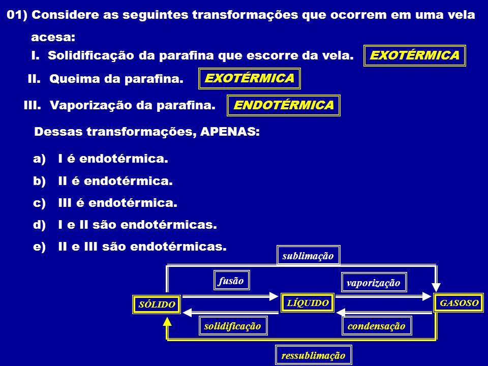 01) Considere as seguintes transformações que ocorrem em uma vela
