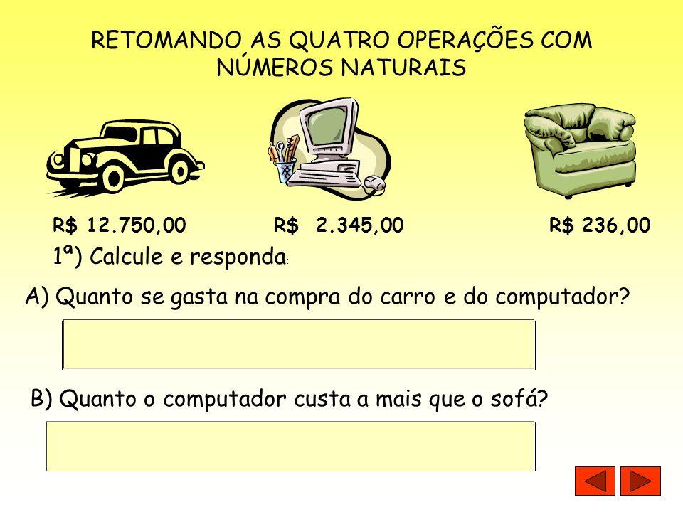 RETOMANDO AS QUATRO OPERAÇÕES COM NÚMEROS NATURAIS
