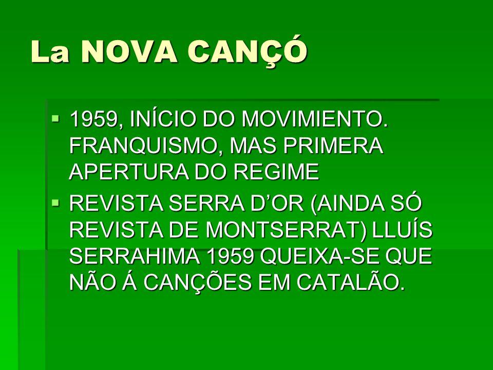 La NOVA CANÇÓ 1959, INÍCIO DO MOVIMIENTO. FRANQUISMO, MAS PRIMERA APERTURA DO REGIME.