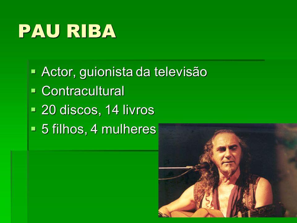 PAU RIBA Actor, guionista da televisão Contracultural