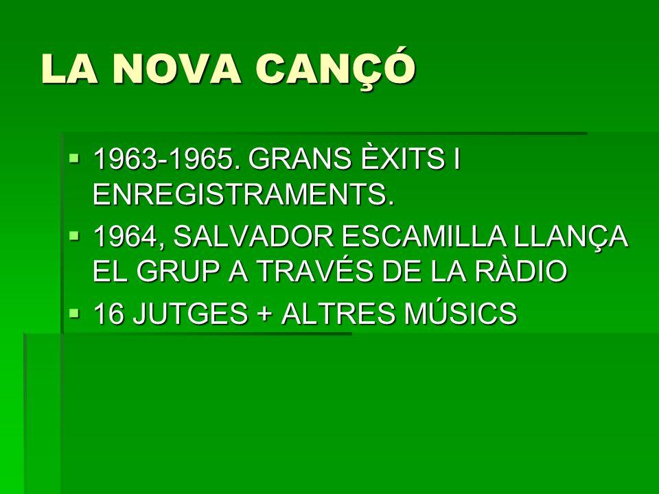 LA NOVA CANÇÓ 1963-1965. GRANS ÈXITS I ENREGISTRAMENTS.