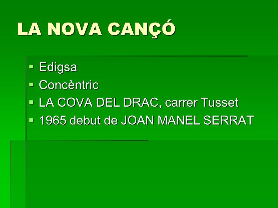LA NOVA CANÇÓ Edigsa Concèntric LA COVA DEL DRAC, carrer Tusset
