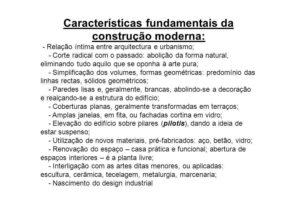 Características fundamentais da construção moderna: