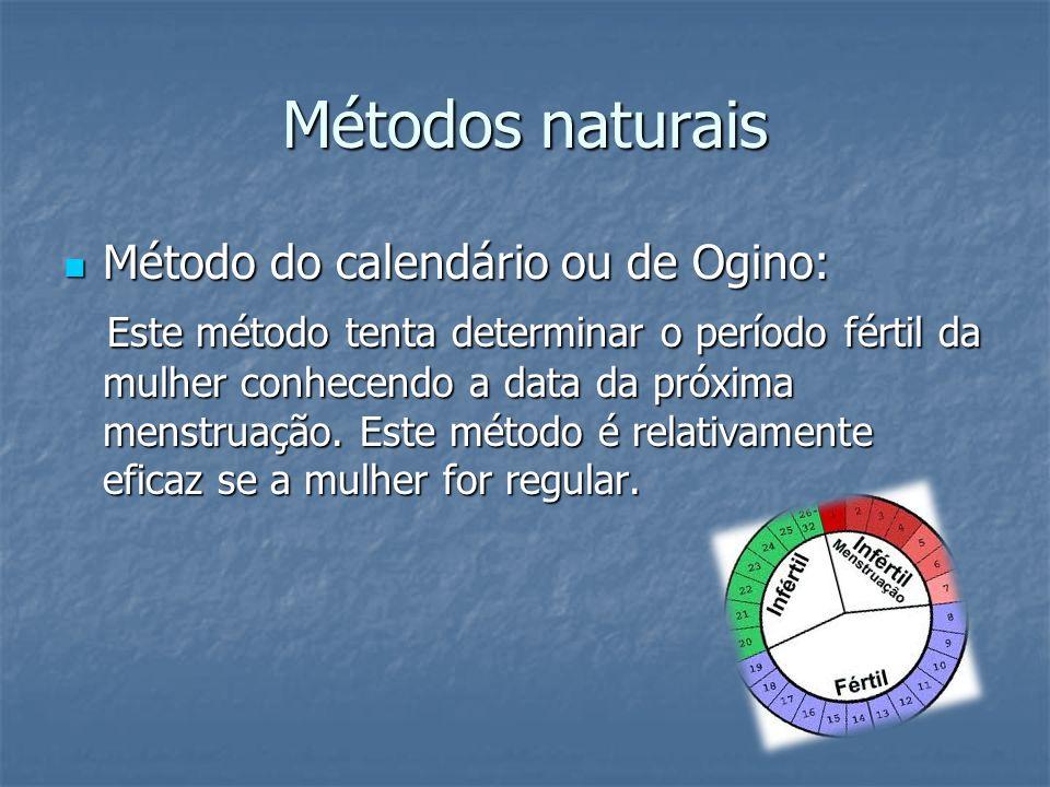 Métodos naturais Método do calendário ou de Ogino: