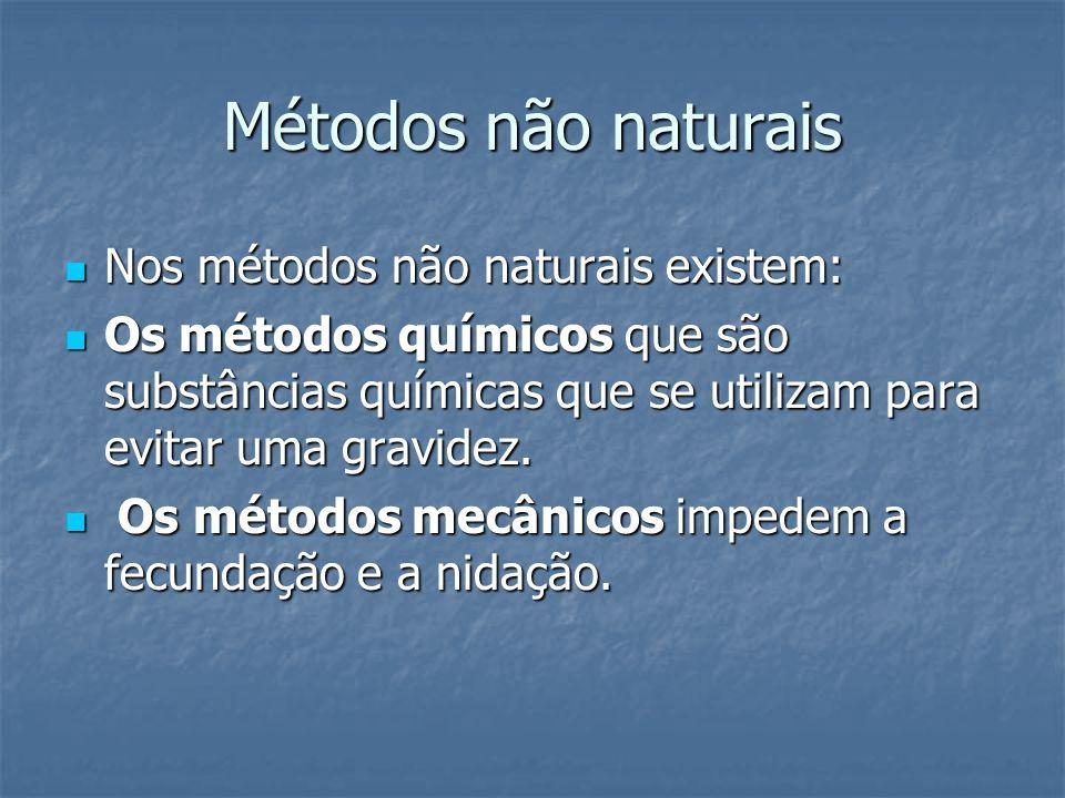 Métodos não naturais Nos métodos não naturais existem: